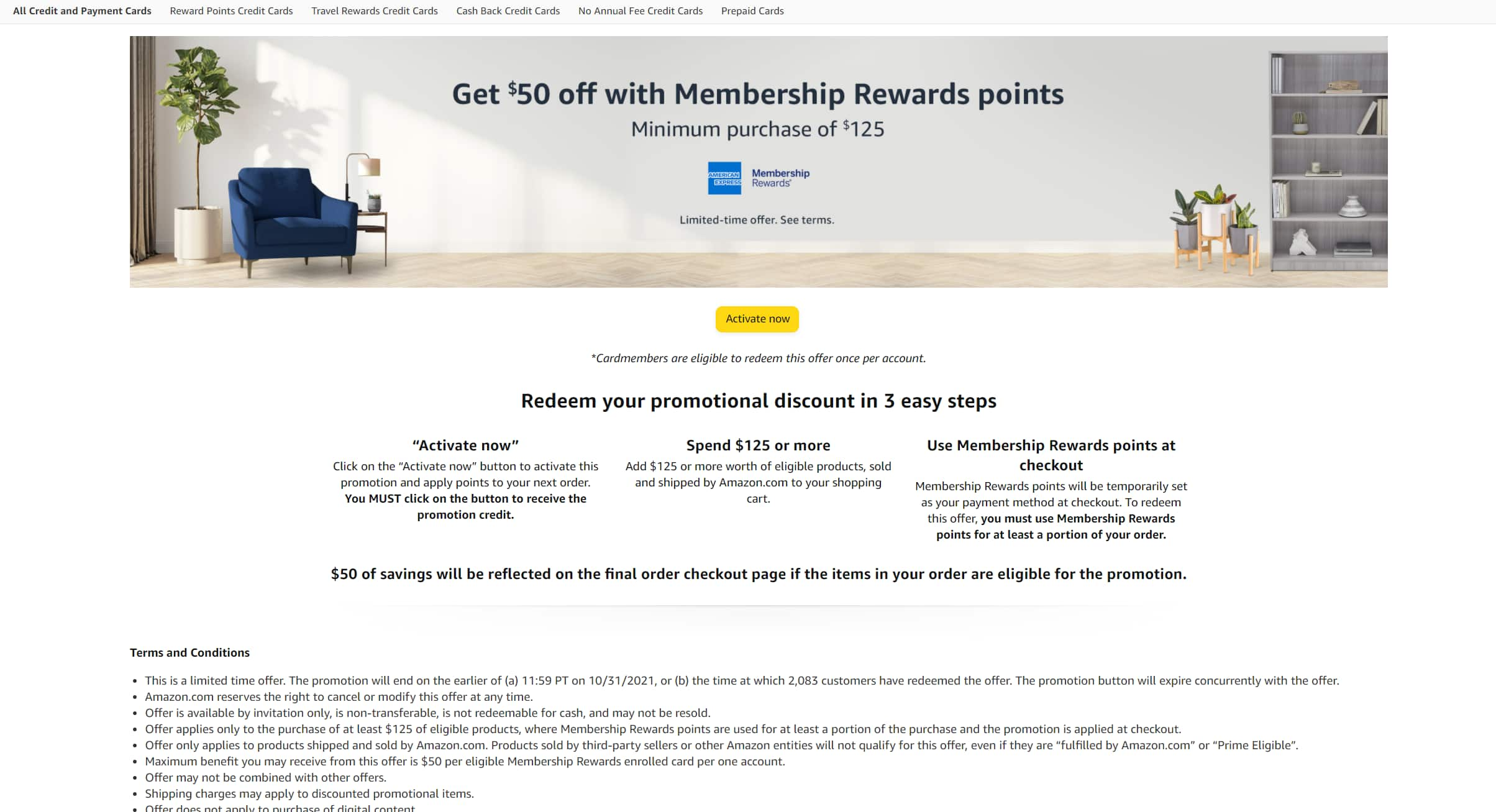 Amazon - Use  AMEX MR Point to receive $50 off $125 purchase (New Link) YMMV