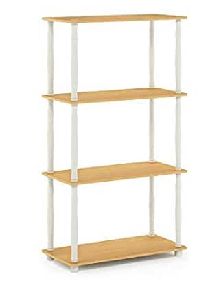 Amazon has Furinno Turn-N 4-Tier Multipurpose Shelf Display Rack with Classic Tubes, Beech/White for $29.92