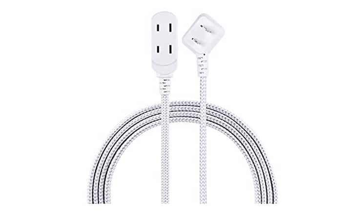 Amazon has Cordinate, Gray/White, Designer 3 Extension Cord, 2 Prong Power Strip, Extra Long 8 Ft Cable with Flat Plug, Braided Chevron Fabric, Slide-to-Lock Safety Outlets for $4
