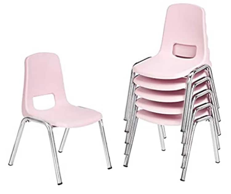 AmazonBasics 6-Pack 12 Inch School Classroom Stack Chair, Chrome Legs, Pink $63.36