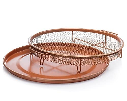 Amazon has Gotham Steel Round Copper Air Fry Crisper Tray, Pizza & Baking Pan, 2 Piece Set! For $10.99