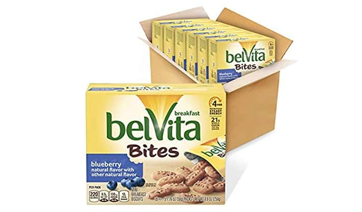 belVita Blueberry Breakfast Biscuits Bites 5Count Box, 8.8 Ounce (Pack of 6 boxes) for $9.98 with S&S
