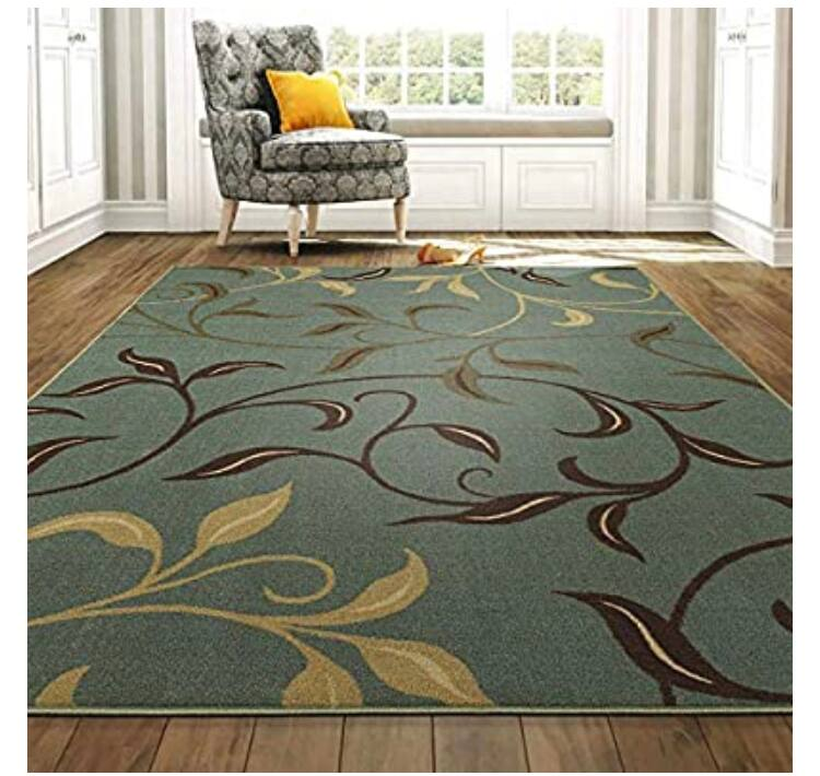 "Ottomanson Ottohome Contemporary Leaves Design Modern Area Rug with Non-SkidRubber Backing, Sage Green/Aqua Blue, 3'3"" L x 5'0"" W $19.12"