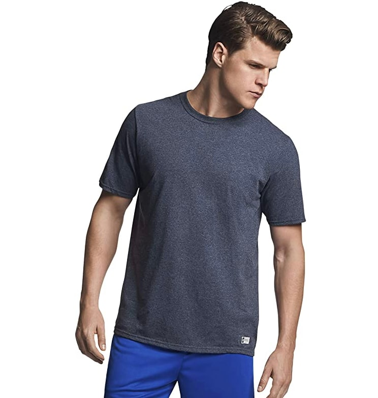Russell Athletic Men's Cotton Performance Short Sleeve T-Shirt  - Black Heather - $6.79