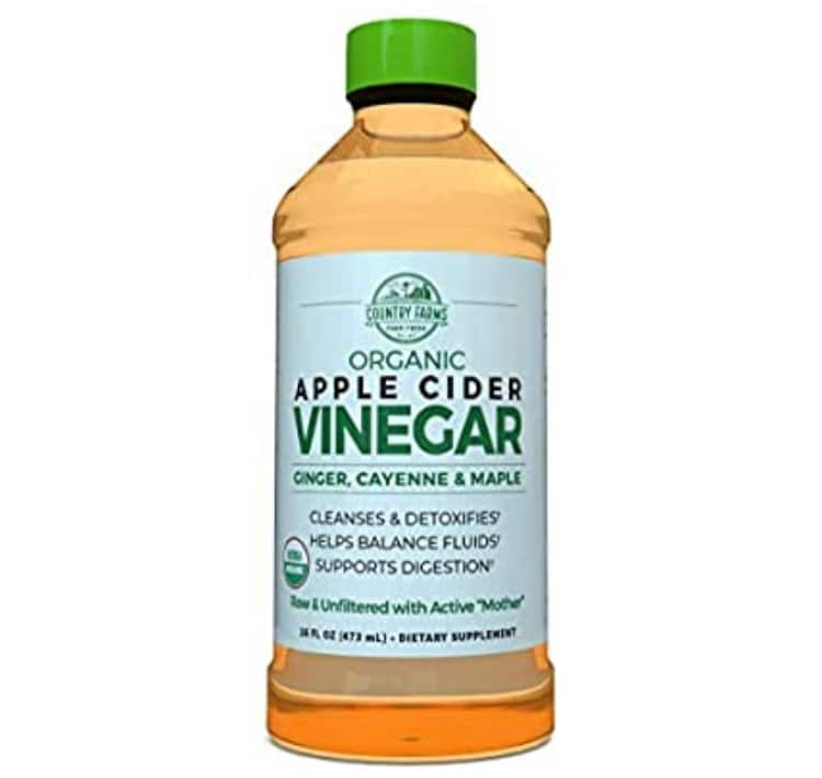 Country Farms Organic Apple Cider vinegar Liquid, USDA Organic with Ginger, Cayenne and Maple 32 servings $4.4
