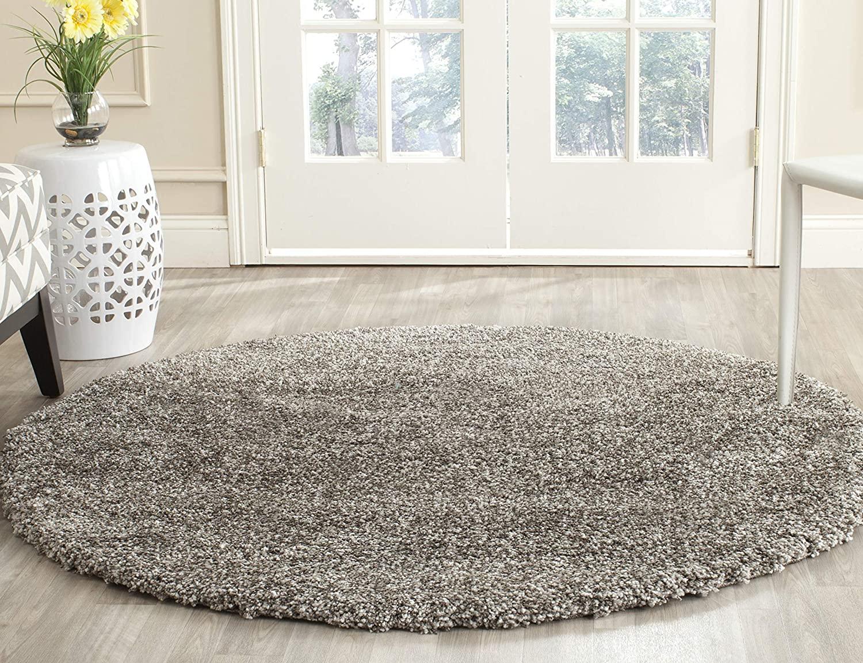 Safavieh Milan Shag Collection SG180-8080 Grey Round Area Rug (3' Diameter) $23.44