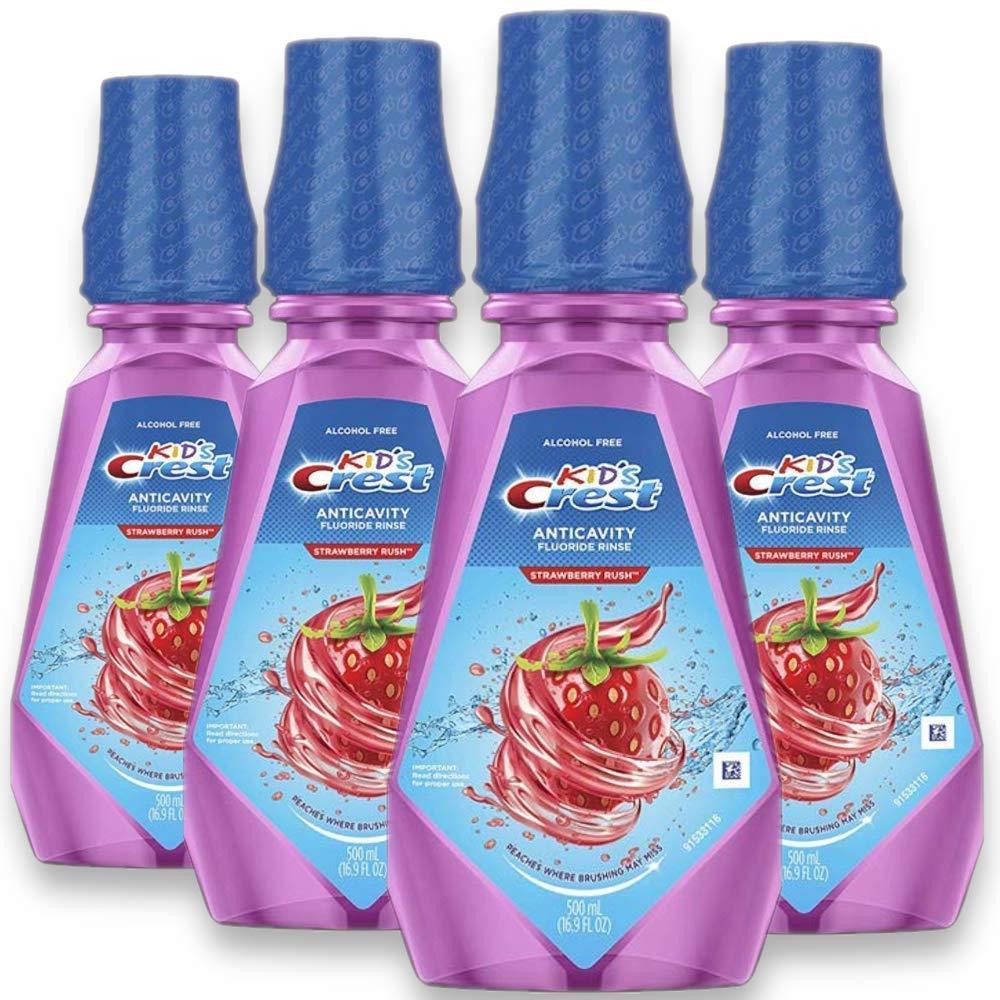 16.9 fl oz. (Pack of 4) Crest Kid's Anti Cavity Alcohol Free Fluoride Rinse, Strawberry Rush $11.09
