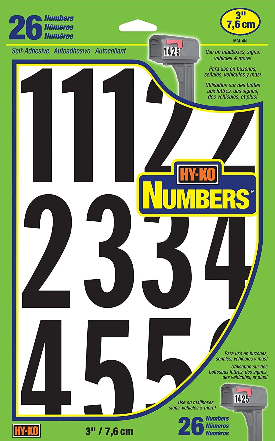 """Hy-Ko Prod. MM-4N26 Boat Number Assortment [3"""" Numbers] $1.74"""