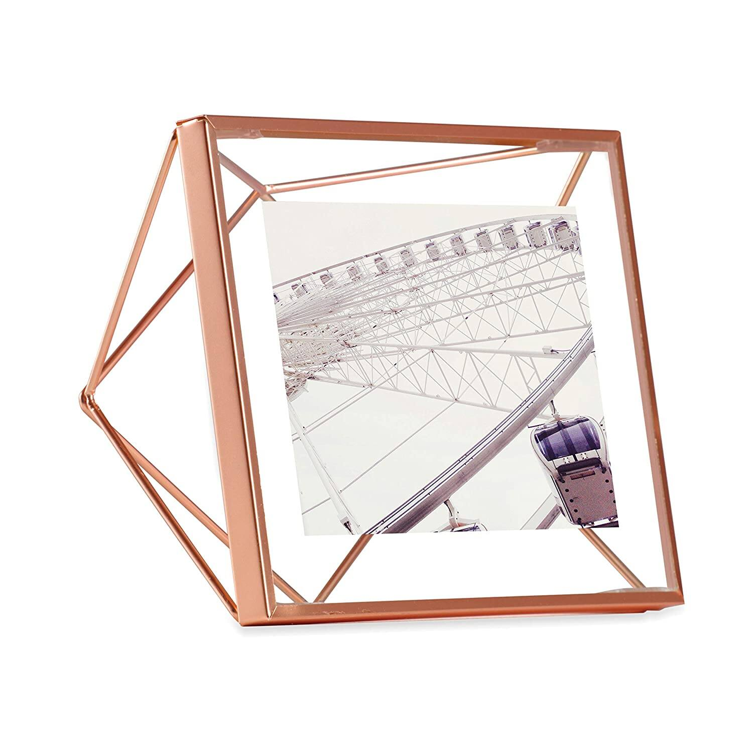 Umbra Prisma Picture Frame, 4x4 Photo Display for Desk or Wall, Copper $6.96