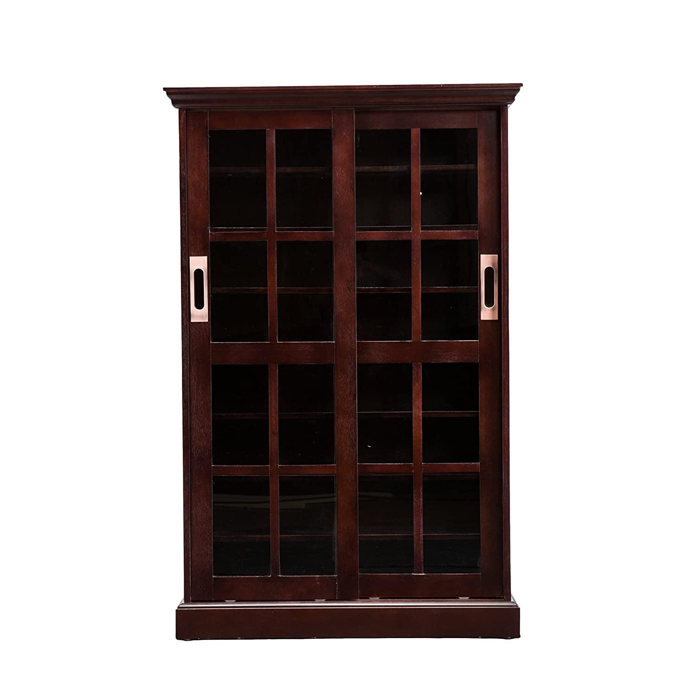 Sliding Door Media Cabinet - 4 Adjustable Shelves - Expresso Wood Finish $120