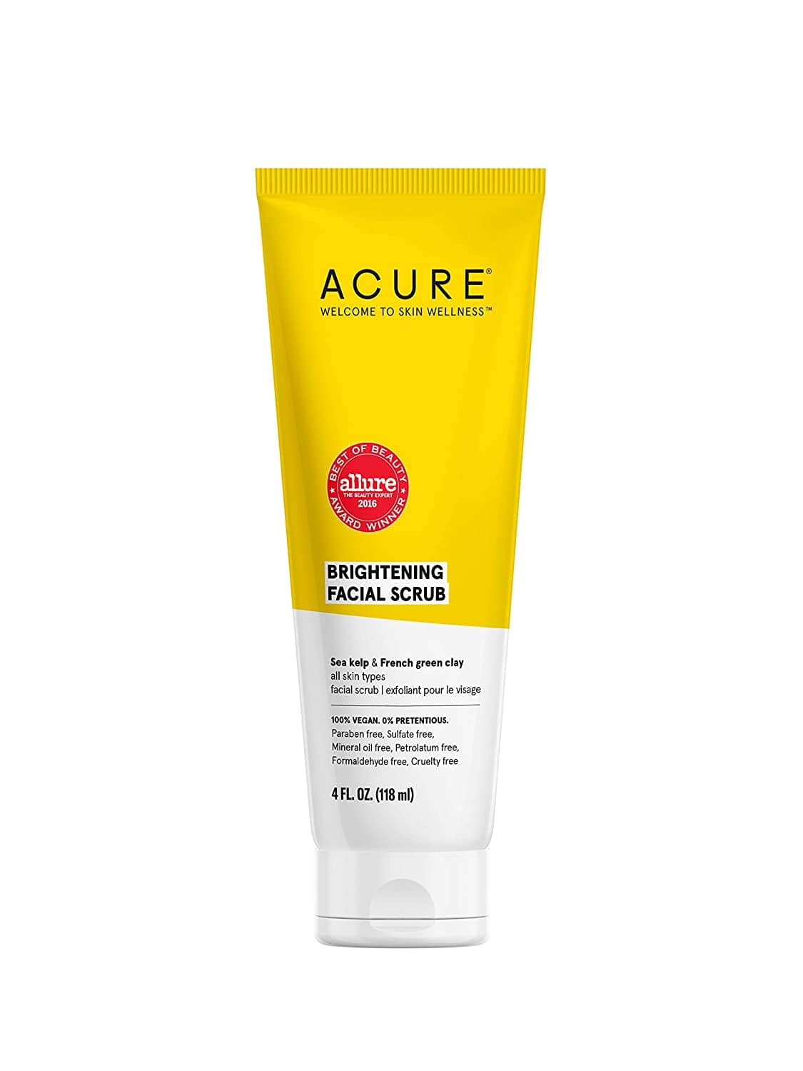 4 Fl Oz  Acure Brightening Facial Scrub |100% Vegan |For A Brighter Appearance | Sea Kelp & French Green Clay - Softens, Detoxifies and Cleanses | All Skin Types |$6.11 with S&S