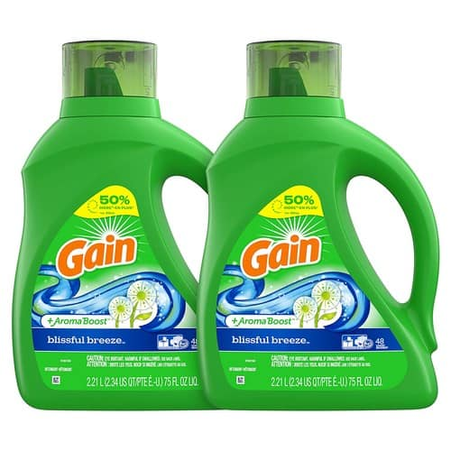 Gain Liquid Laundry Detergent, Blissful Breeze, 2 Count, 75 fl oz Each, 96 Total Loads for $15.04 S&S and $3 Coupon