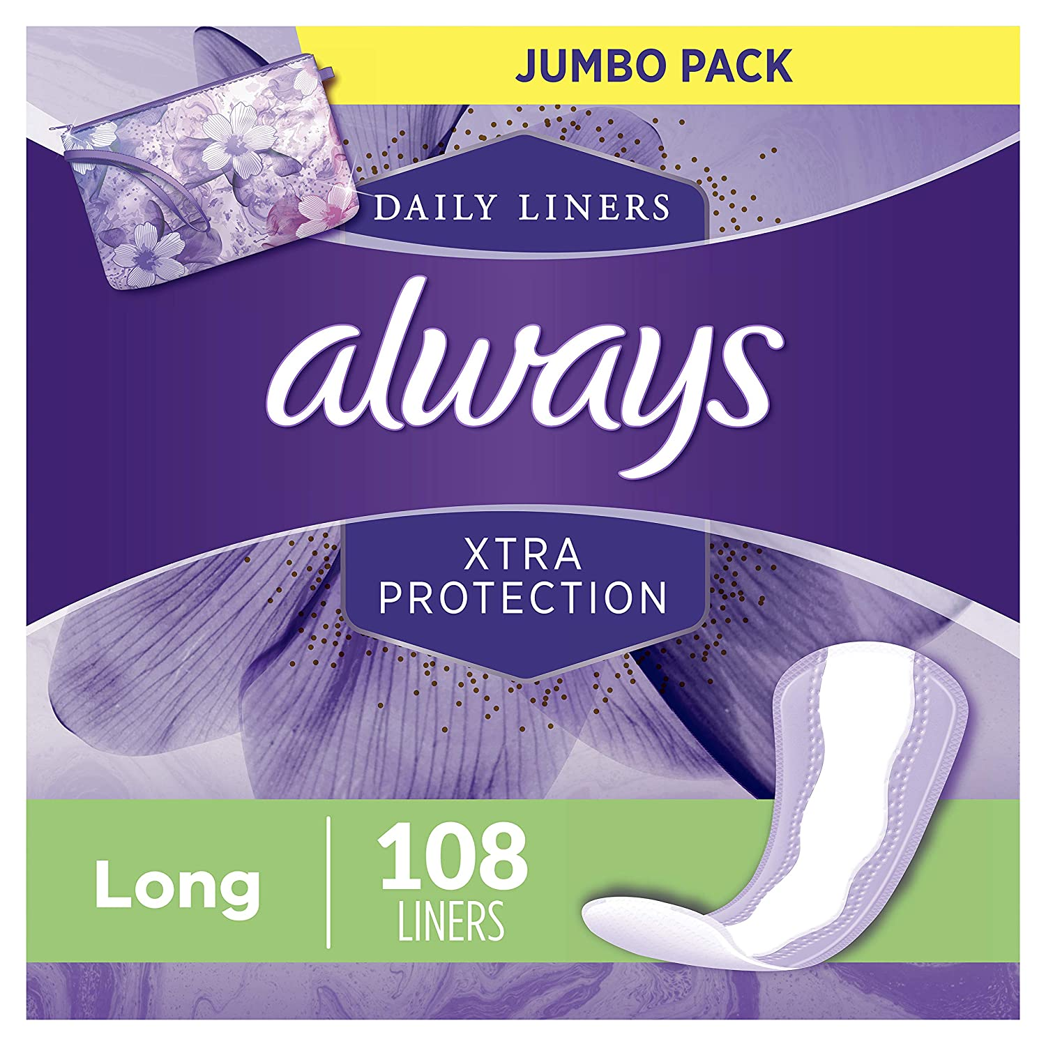 2 pack 108 Count each Always Xtra Protection Long Daily Liners Unscented for $11.23