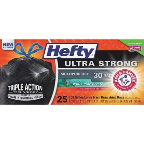 25-Count Hefty 30-Gallon Ultra Strong Trash Bags (White Pine Breeze) for $5.14