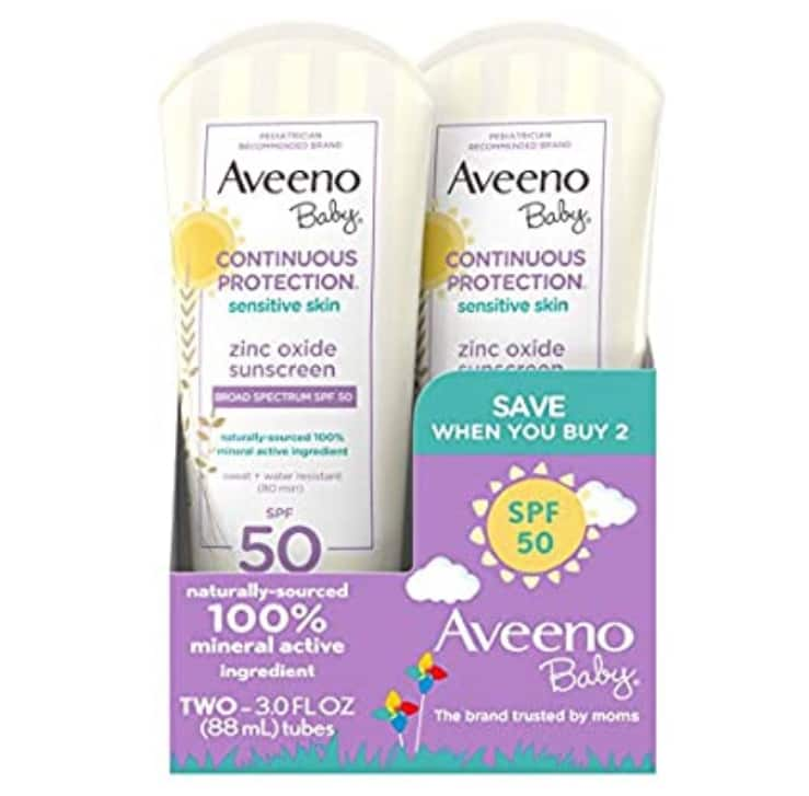 2 Pack 3 Fluid Ounce Aveeno Baby Continuous Protection Zinc Oxide Mineral Sunscreen Lotion With Broad Spectrum SPF 50 $10.45