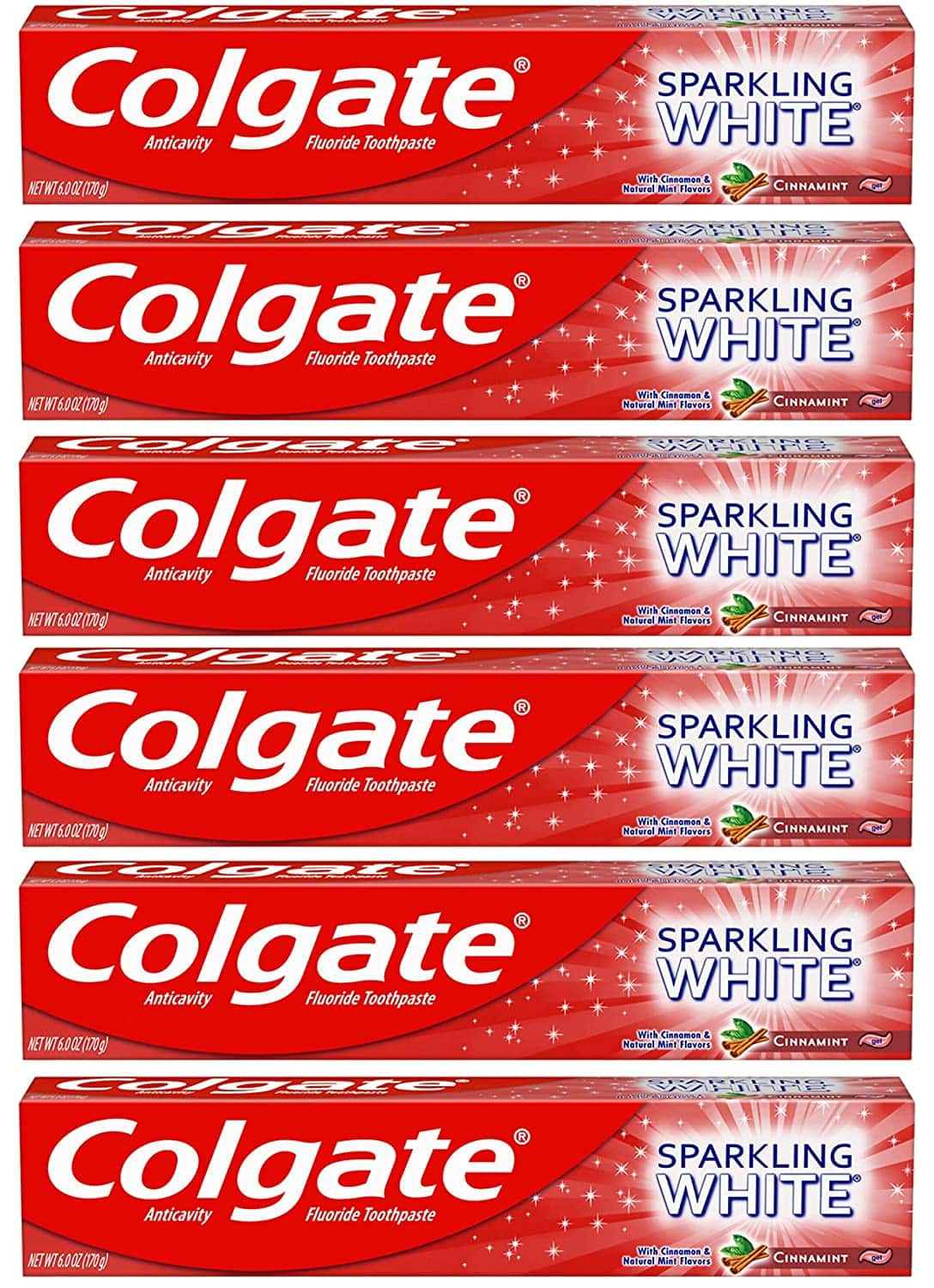 Colgate Sparkling White Whitening Toothpaste, Cinnamon Mint - 6 ounce (6 Pack) $7.52