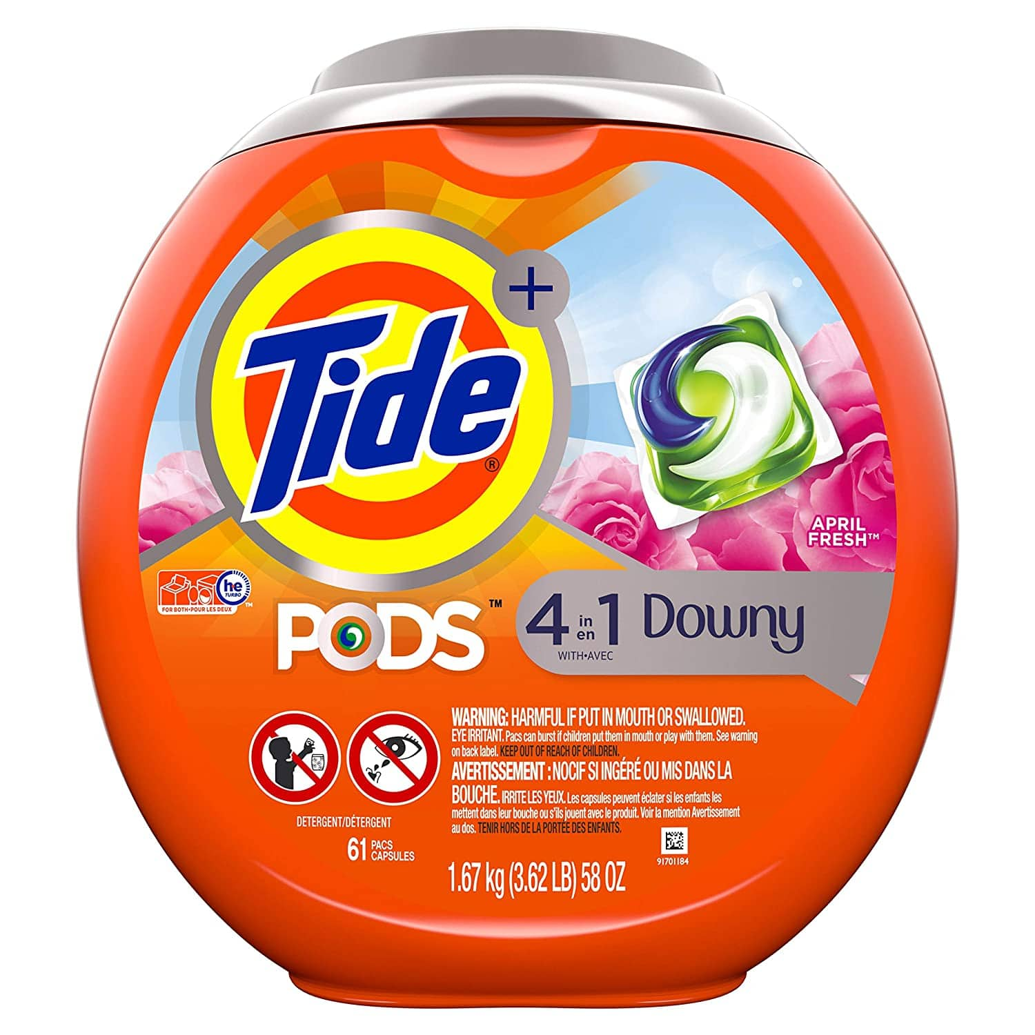 2 Quantity 61 Count Tub each  Tide PODS Plus Downy 4 in 1 HE Turbo Laundry Detergent Pacs, April Fresh Scent, $26.5