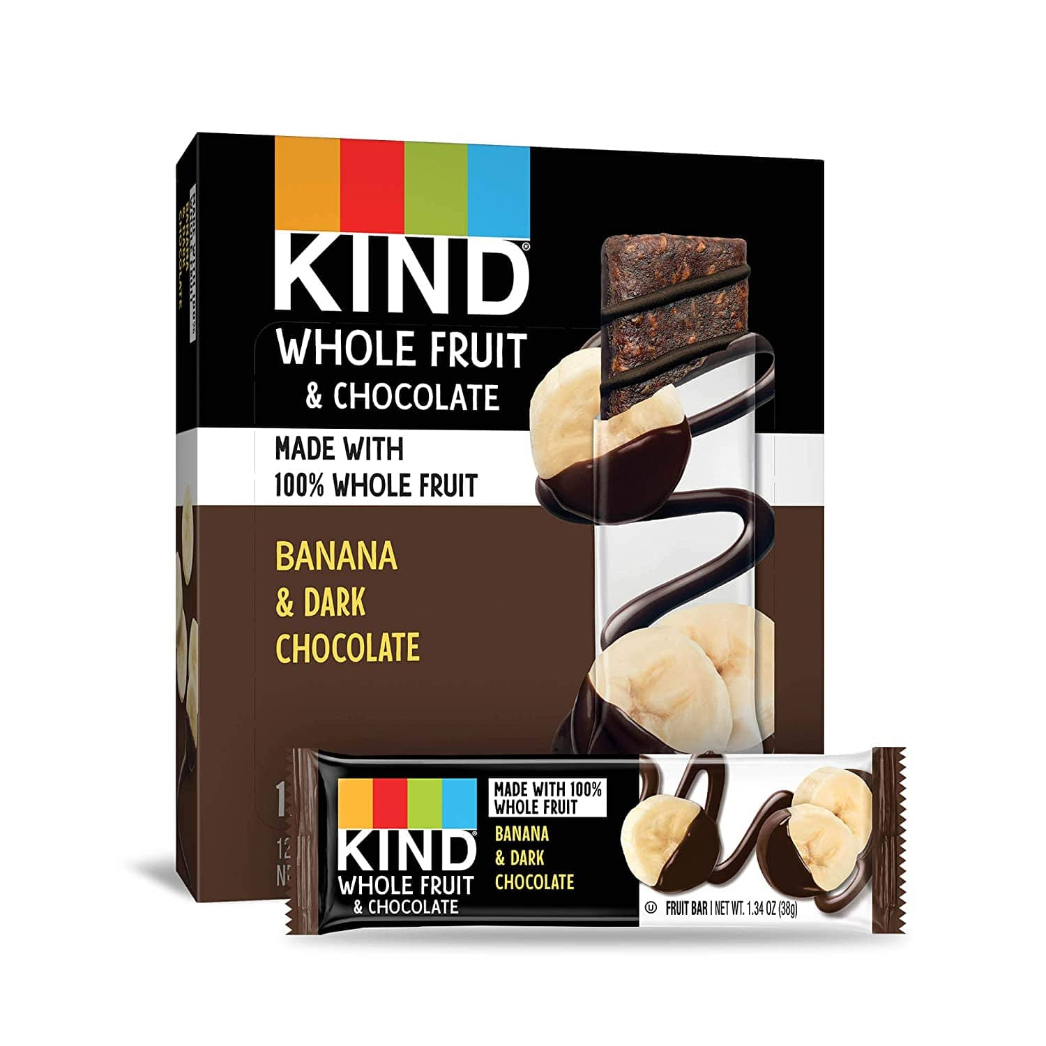 KIND Whole Fruit Bars, Chocolate Banana, No Sugar Added, Gluten Free, 1.34oz, 12 Count (formally Pressed by KIND) $10.8