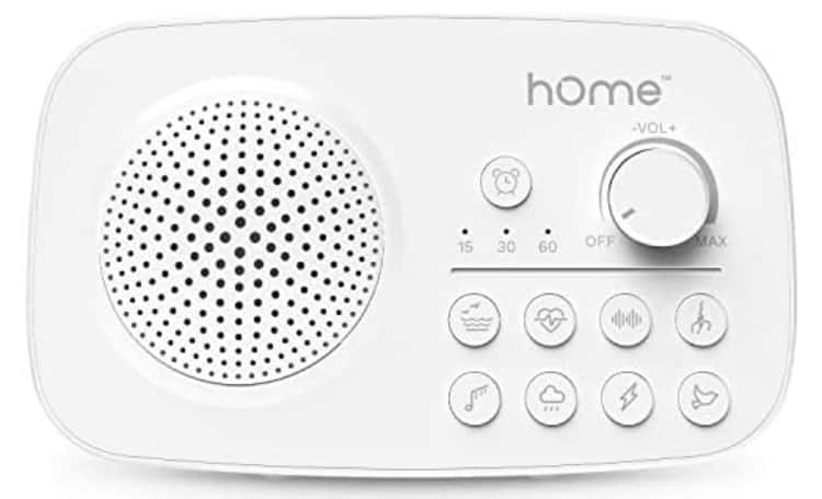 hOmeLabs White Noise Sound Machine - 8 Soothing Sounds, Timer with Auto-Off, Rechargeable Battery and AC Adapter $6.99