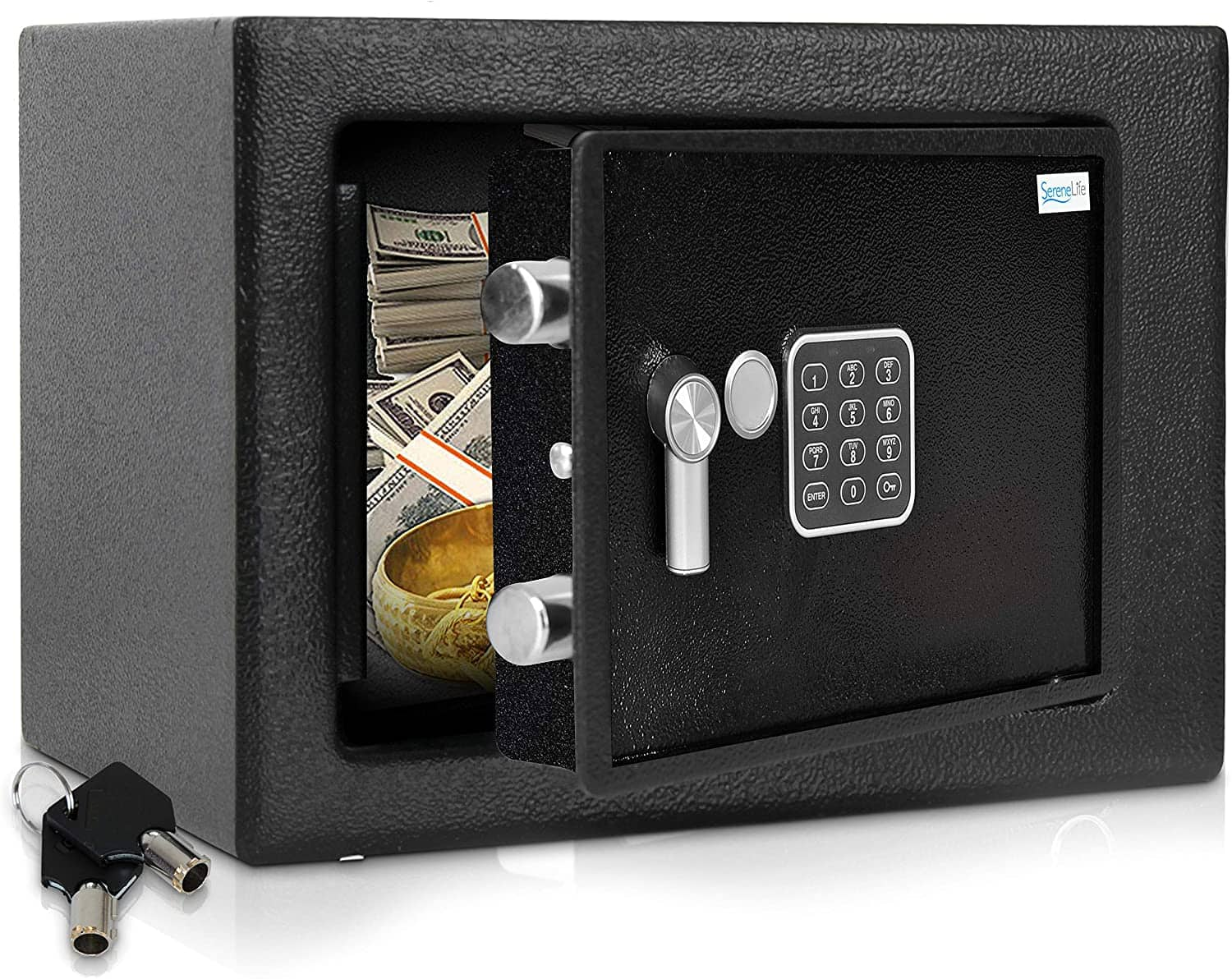 SereneLife SLSFE15 - Electronic Home Safe - Locking Safe Box with Mechanical Override, Includes Keys $36