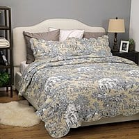 Epic Amazon Printed Quilt Coverlet Set Hypoallergenic Microfiber Twin King