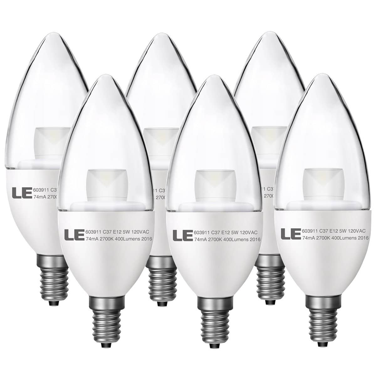 LE E12 Candle LED Light Bulbs, 5W (40W Incandescent Equivalent) 6-pack $9.99 or 3-pack $7.99 A/C + Free Amazon Prime shipping