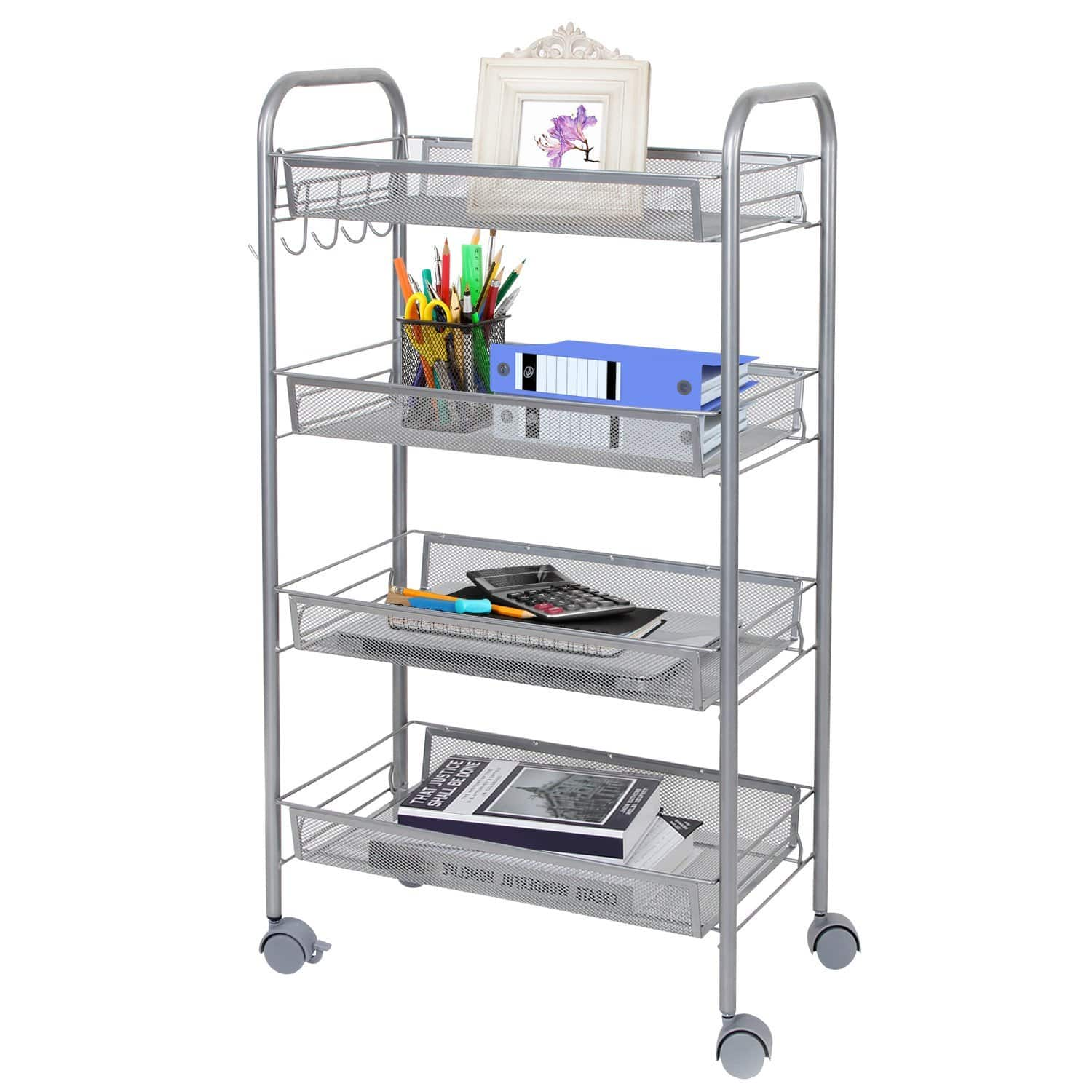 Mesh Rolling Storage Cart with 4 Baskets and Hooks, Kitchen and Bathroom Organization Shelf $29.76 a/c + Free Amazon Prime shipping
