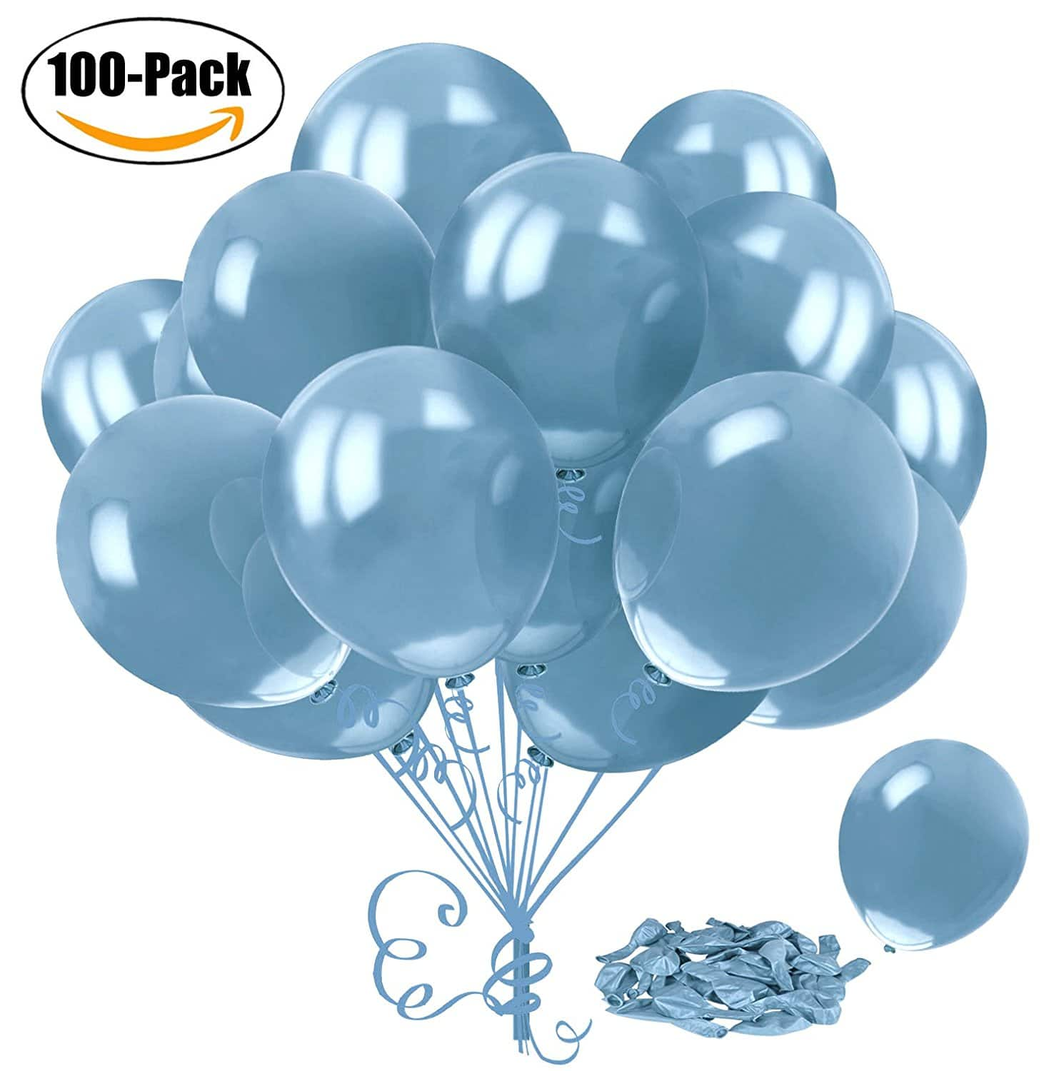 100 12-inch Latex Balloons Sky Blue $2.99 a/c + free Prime shipping
