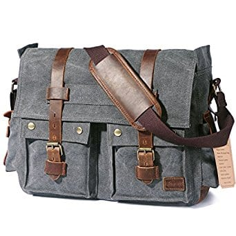 "15.6""-17.3"" Men's Canvas Leather Messenger Laptop Bags $32.99 a/c + free Prime shipping"