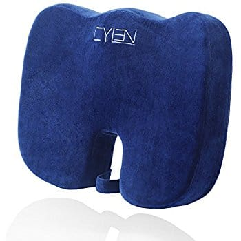 CYLEN Home-Memory Foam Bamboo Charcoal Infused Ventilated Orthopedic Seat Cushion - Blue Washable & Breathable Cover $13.75 a/c + Free Prime shipping