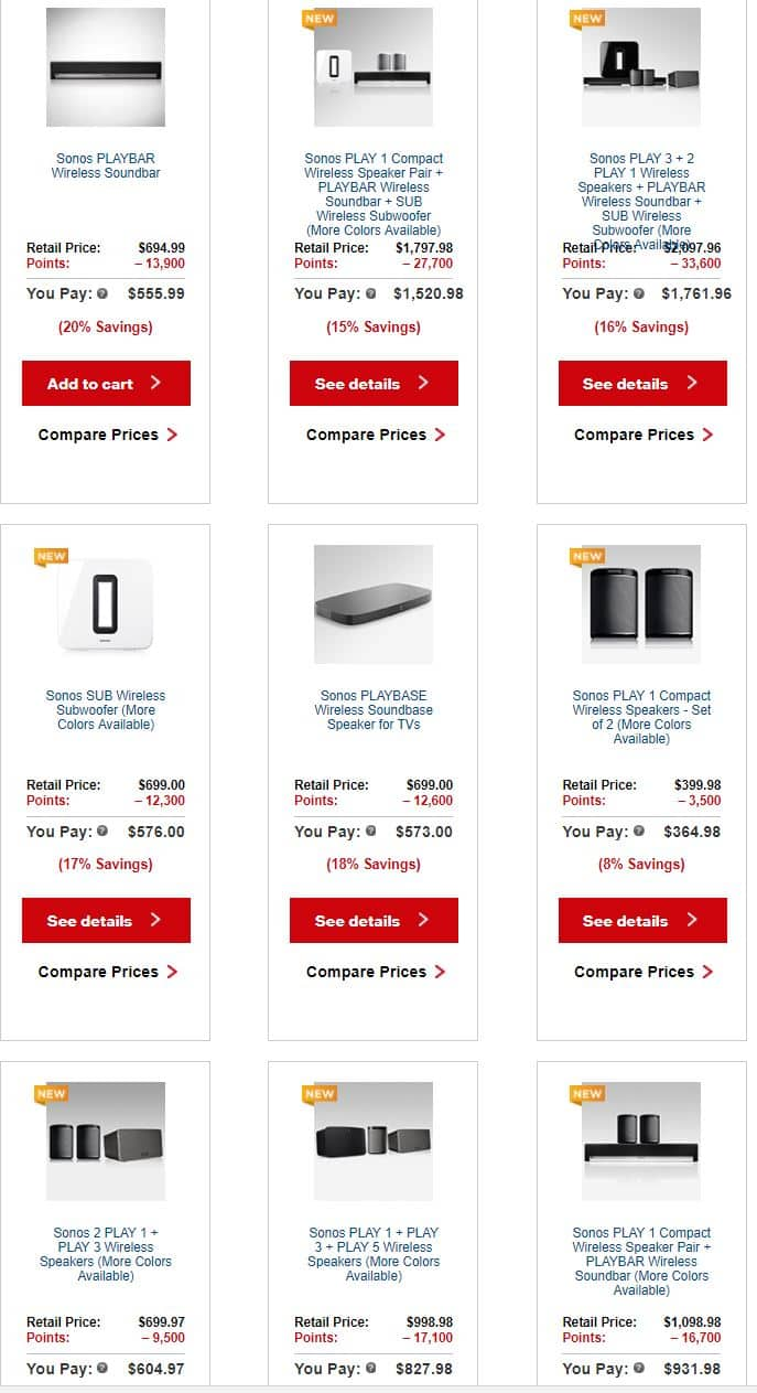 Sonos PlayBar $559.99 and other deals - Verizon Wireless Customers Only and YMMV if you have points available
