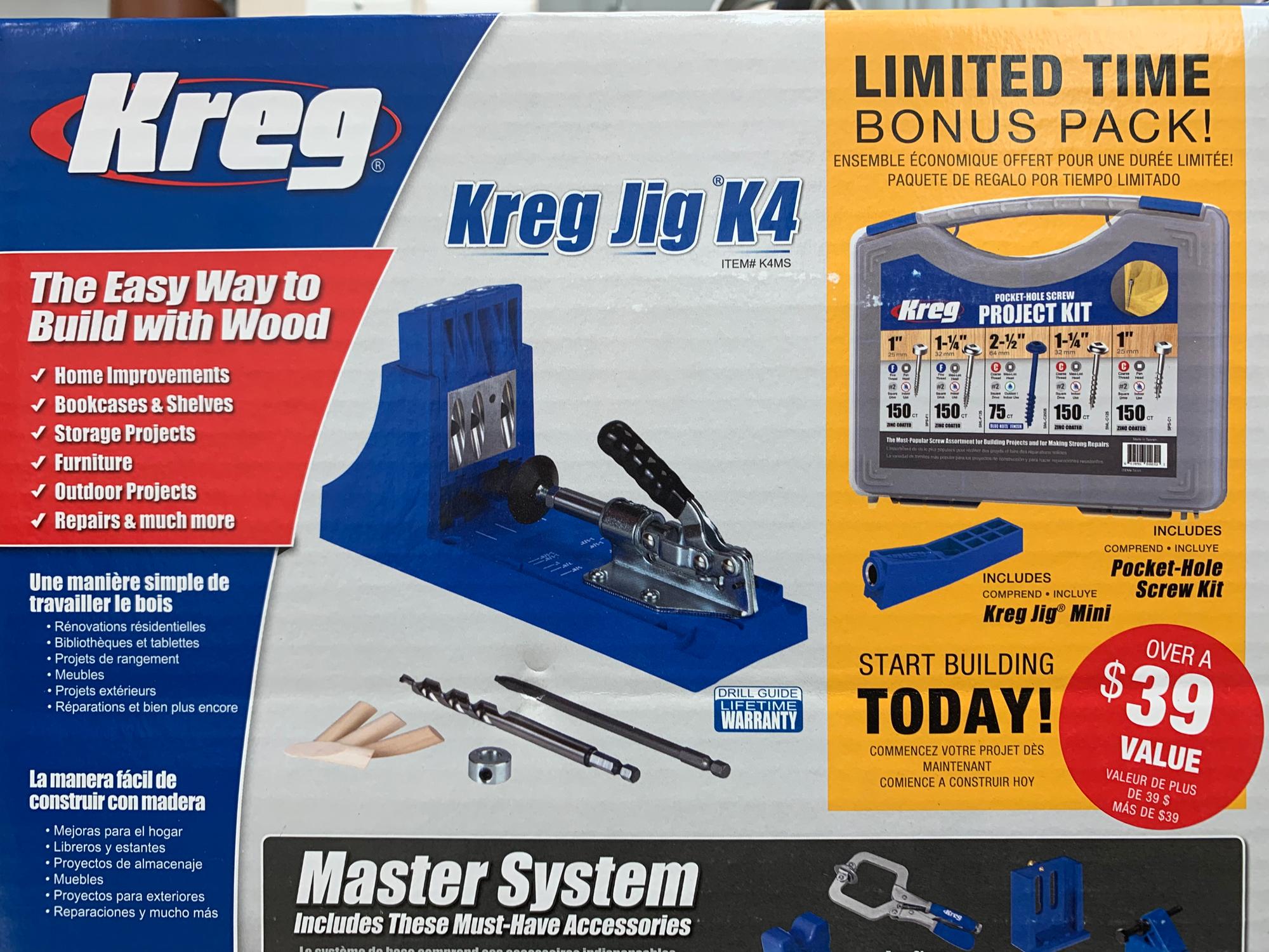 Kreg K4 Pocket Hole Jig Master System + Bonus Pocket Hole Screw Kit + Jig Mini for $124 + tax after $15 rebate at Lowes B&M YMMV