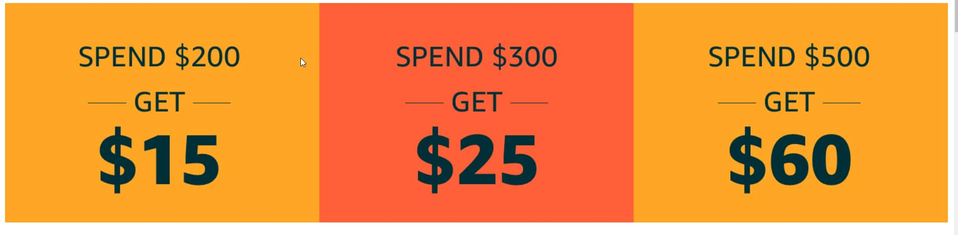 Only on Black Friday (Nov 29) and only in the Amazon app Get up to a $60 coupon toward a future purchase with the Amazon app (may be ymmv)
