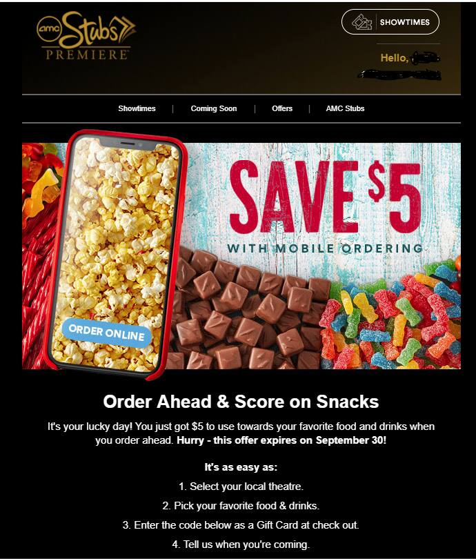 AMC Stubs Premier - $5 for Snacks and Drinks with Mobile Order - YVMV