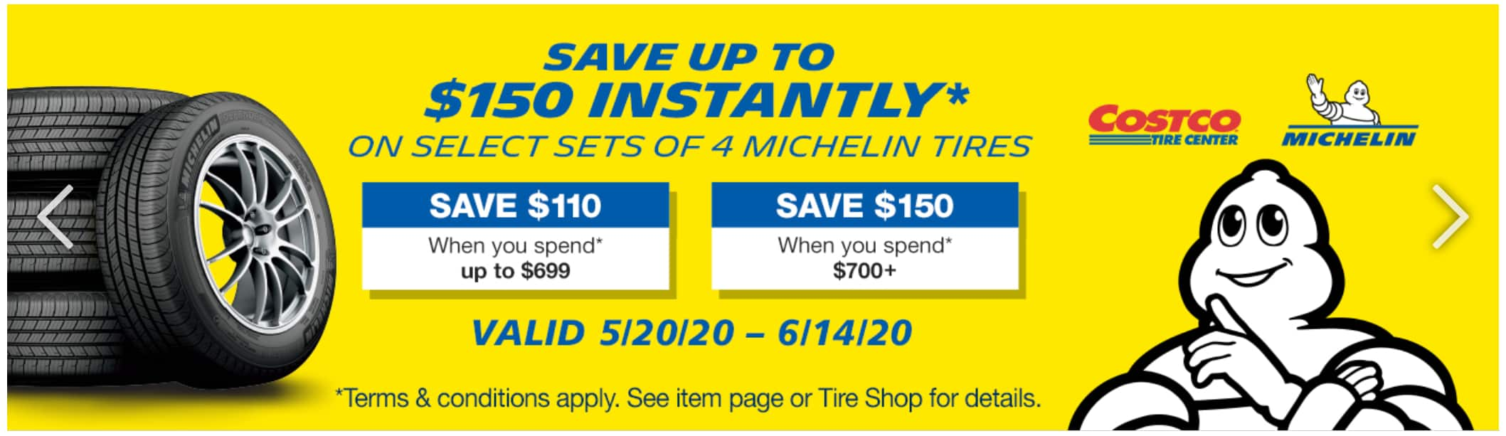 Costco Members: $150 Off Set of 4 Michelin Tires (5/20-6/14)