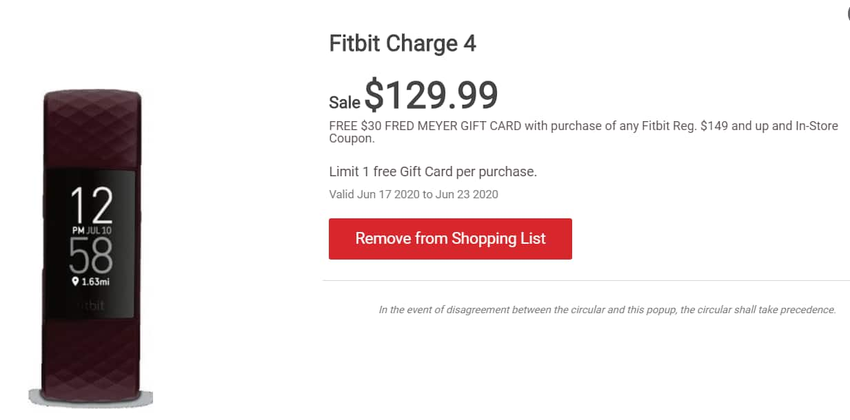 Fred Meyer: Fitbit Charge 4 Activity Tracker w/ GPS $99.99 (In-store Only)