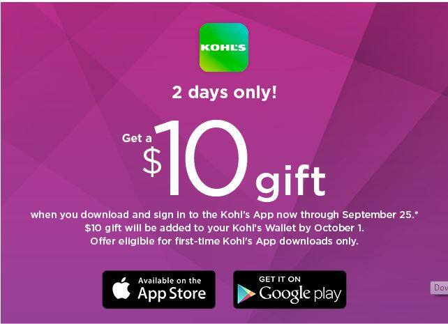 ae09ee401c Get  10 off when you download the Kohl s App (YMMV) - Slickdeals.net