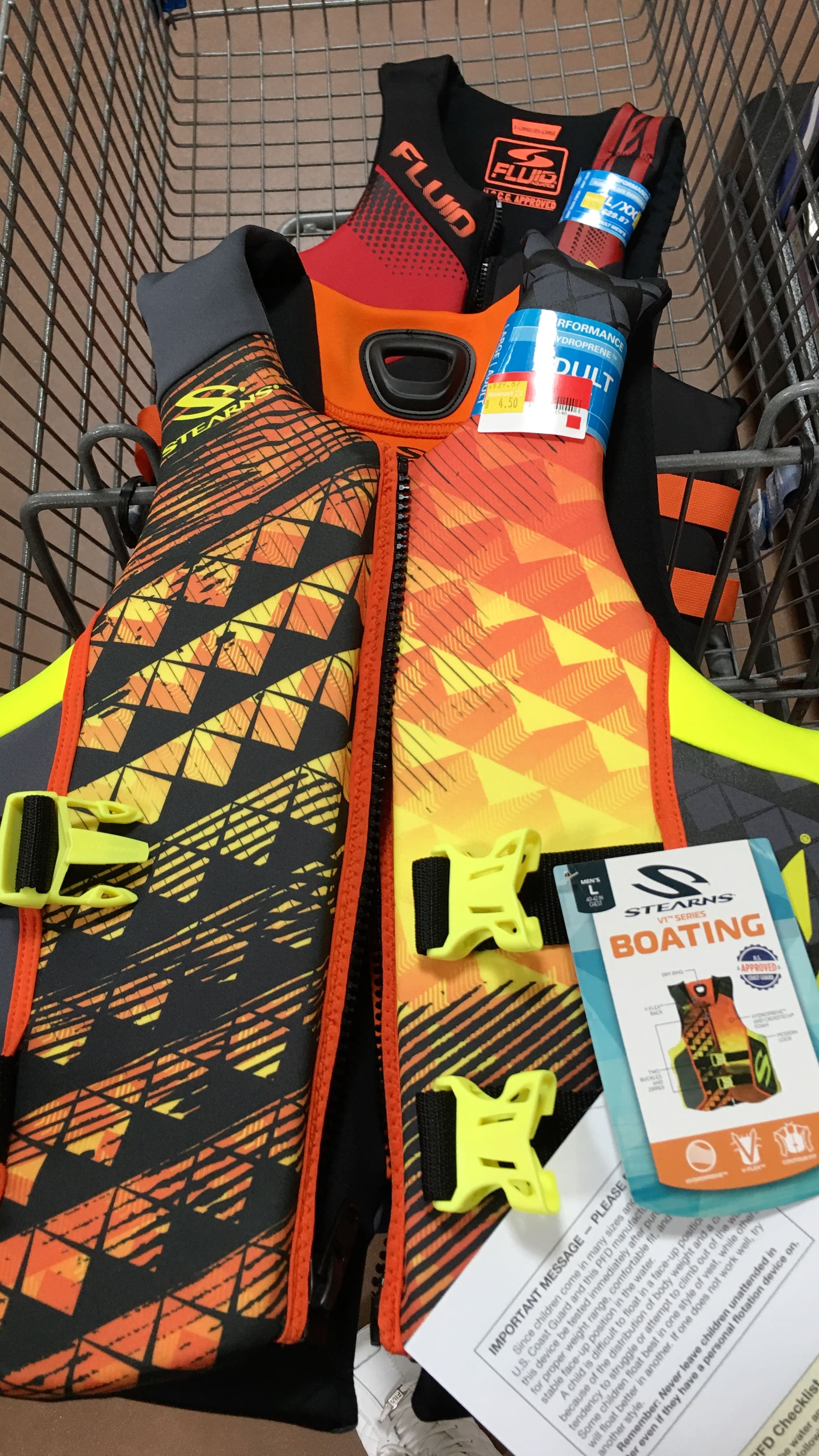 Life jackets (multiple brands) on deep clearance up to 90% off at Walmart B&M YMMV