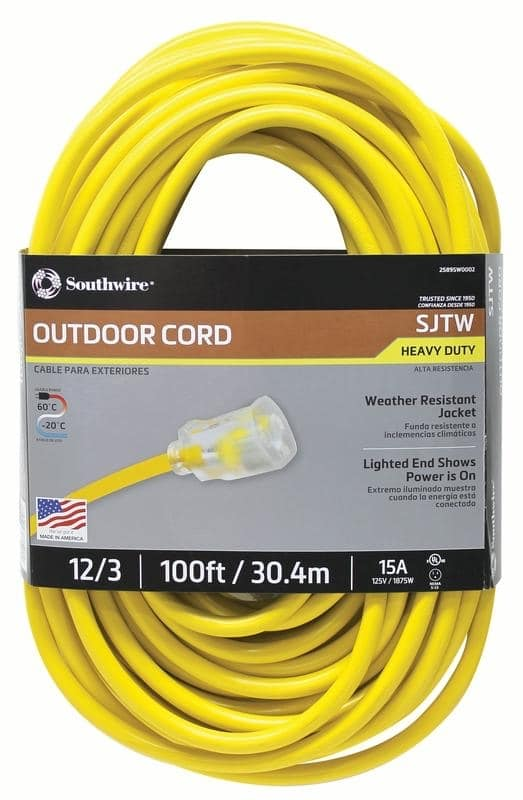 Southwire 100 Foot 15 Amp SJTW Heavy Duty Electrical Extension Cord, Back in stock $27.59  - $27.59