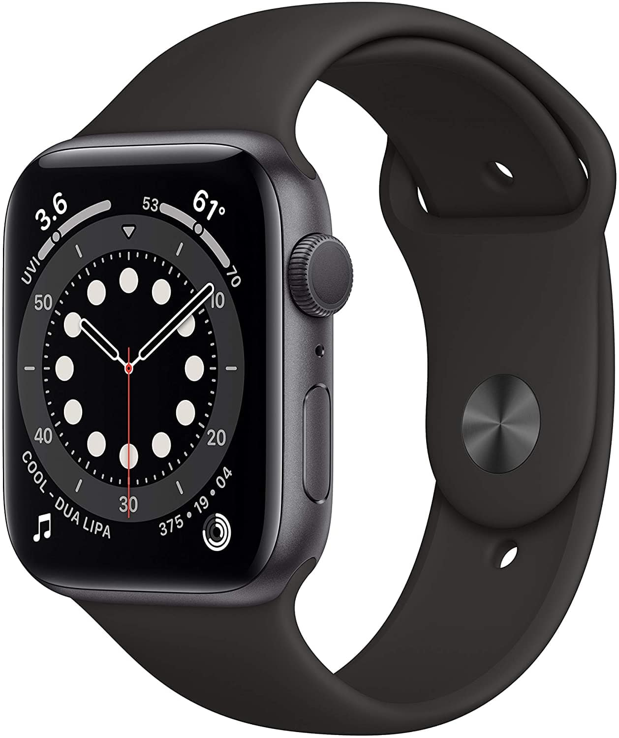 Apple Watch Series 6 (GPS, 44mm) - Space Gray Aluminum Case with Black Sport Band - Amazon - $380 - Free Shipping