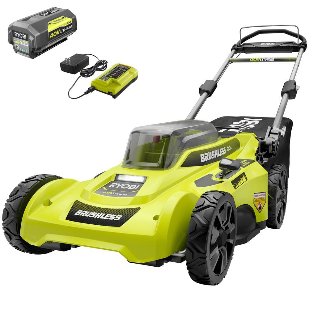 20 in. 40-Volt Brushless Lithium-Ion Cordless Battery Walk Behind Push Lawn Mower 6.0 Ah Battery/Charger Included $199