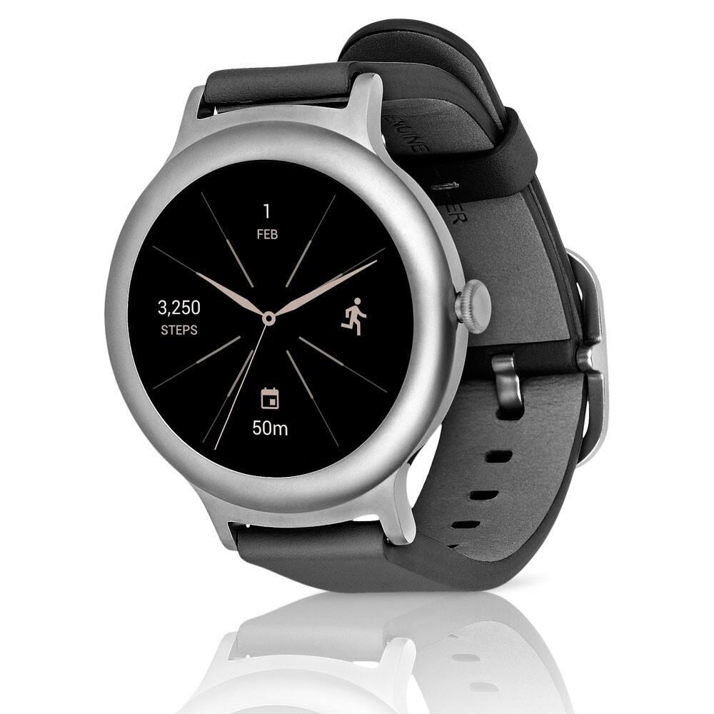 LG W270 Smartwatch with Android Wear 2.0 for Google Android & iOS - Stainless Steel Titanium with Leather Band (Refurbished) For $99.95