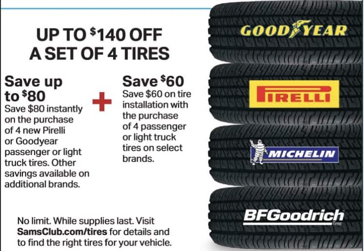 Sam S Club Members 140 Off Set Of 4 Pirelli Or Goodyear Passenger