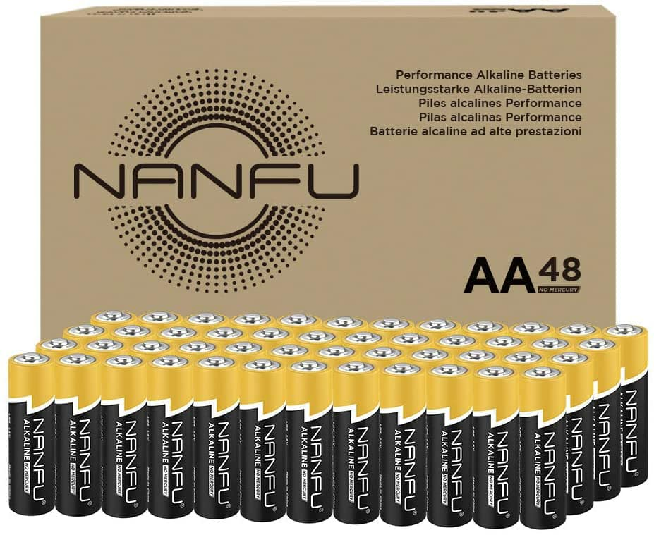 NANFU High Performance AA Alkaline Batteries (48 Count), Ultra Power, Long Lasting for Household Devices: Home Audio & Theater