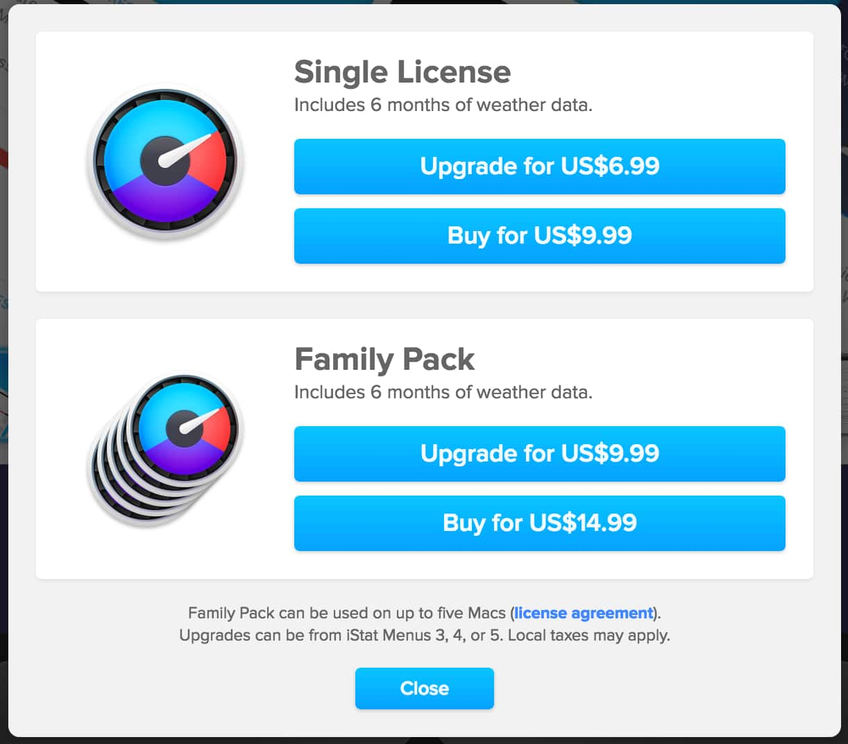 iStat Menus - Single License 40% off @ $9.99 ($6.99 upgrade) - Family Pack 44% off @ $14.99 ($9.99 upgrade)