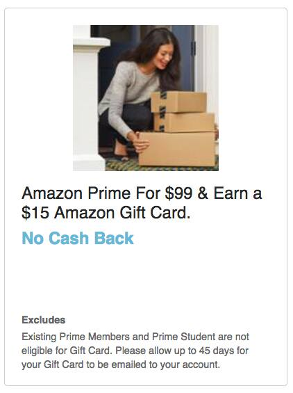 Swagbucks Offer: Purchase an Amazon Prime Membership For $99 & Earn a $15 Amazon Gift Card (Non-Prime Members Only)