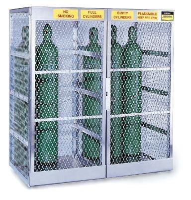 PRICE MISTAKE $187 JUSTRITE MANUFACTURING 23007 Aluminum Cylinder Locker for Safe Storage of 20 Vertical Compressed Gas Cylinders