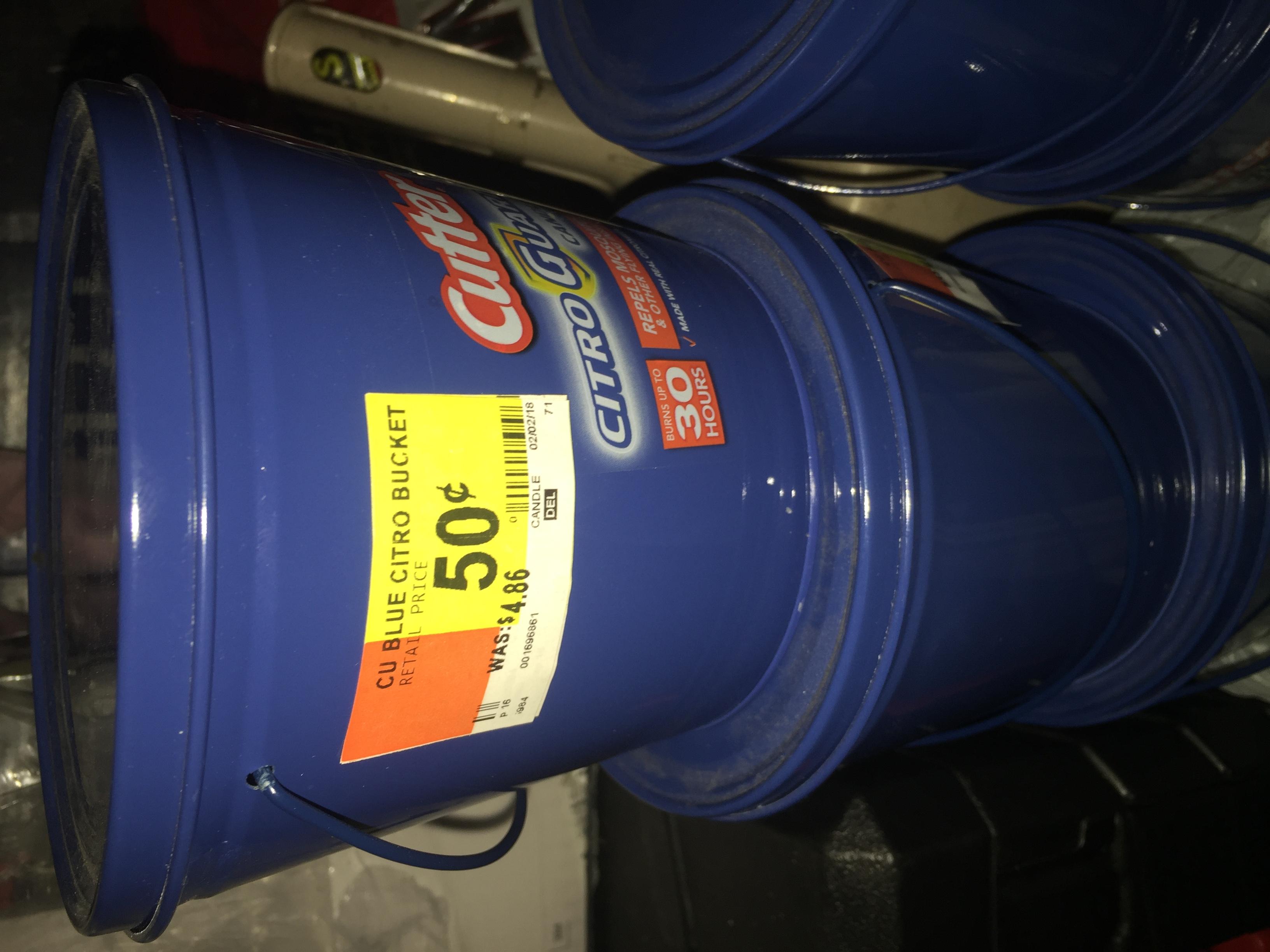 Cutter CitroGuard Bucket Candles $0.50 @ Walmart reg $5 B&M YMMV CLEARANCE
