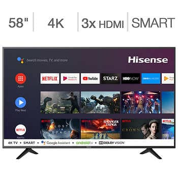 """Costco Members: 58"""" Hisense 58H6550E 4K UHD HDR Android Smart LED HDTV $349.99 + Free Shipping"""