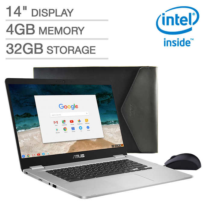 """Asus C423 Chromebook: N3350, 14"""" 1080p, 4GB DDR4, 32GB eMMC, Chrome OS + Mouse/Sleeve $199.99 + Free Shipping @ Costco Wholesale"""